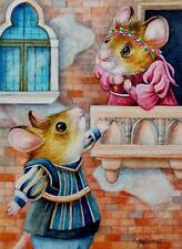 ACEO Limited Edition Print Valentine Romeo & Juliet Mouse Mice by J. Weiner