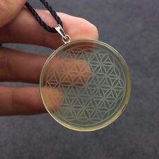 42mm Flower of Life Citrine Natural Quartz Crystal Silver Pendant Healing 3006