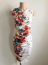 Cream Red Blue Floral Ruch Front Wiggle Pencil Smart Office Shift Dress Size 16