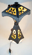 Wrought Iron Table Lamp with Opaline Plaques