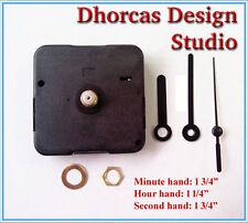"""(#011) Quartz Clock movement kit 3/16"""" threaded quiet motor & 1 3/4"""" black hand"""