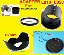 TO CAMERA NIKON COOLPIX L810 L820 L830 L840:ADAPTER+HOOD+UV FILTER+LENS CAP 62mm