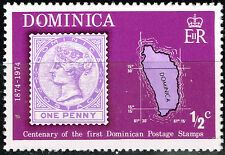 Dominica Island detailed map stamp 1974 MNH