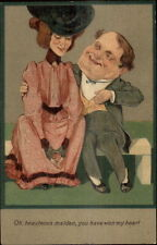 PFB Caricature Romance Tall Skinny Woman Short Stout Man c1910 Postcard