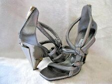 NEW $1350 JIMMY CHOO KISSY SILVER SNAKE SKIN KNOT STRUCTURE HEEL 36 6