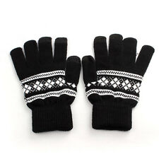 Unisex Touch Screen Plush Gloves Stretchy Knit Soft Warm Winter Mitten Black