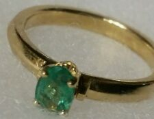 Estate $2000 .75ct Colombian Emerald 14k Yellow Gold Wedding Ring