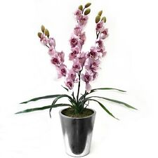 74cm Artificial Potted Cymbidium Orchid with Pink Flowers in a Round Silver Pot