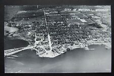 CITY OF WHITEHALL, MI postcard RPPC aerial view, White Lake, circa 1948-1954