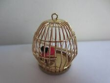 Vintage Dollhouse Miniature Tiny Pet Mouse in Brass Metal Cage