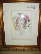 Original Gold Framed Watercolor Painting by Anna Sandhu Ray- Signed w/COA