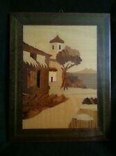 "Wood inlay picture of an Old Southwest Church Mission 9"" by 7"""