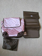 GIRL'S BABY SAC PINK & BROWN TOTE BAG STYLE DIAPER BAG WITH CHANGING MAT