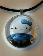 "Hello Kitty "" STAR TREK "" glass pendant with leather necklace!"