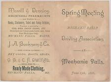 1888 Horse Race Score Card Spring Meeting Mechanic Falls ME Driving Association