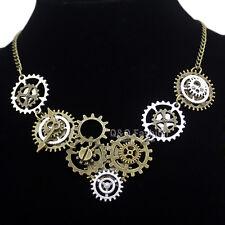 Vintage Gold & Silver Watch Clock Clockwork Hand Gear Cog Steampunk Necklace W