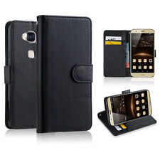 BLACK Premium New Wallet Leather Case Cover For Huawei Ascend G8 + Screen Film