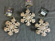 3 x Large Champagne Gold 3D Glitter Snowflake Christmas Tree Decoration