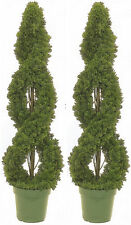2 CEDAR OUTDOOR TOPIARY ARTIFICIAL TREE 4' CYPRESS DOUBLE SPIRAL PINE POOL PATIO