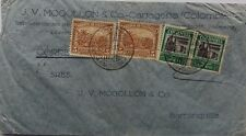 COLOMBIA 1933 AIRMAIL COVER CARTAGENA TO BARRAQUILLA WITH MOGOLLON PERFIN STAMPS
