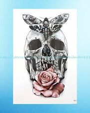 "rose Calavera sugar skull 8.25""extra large temporary arm fake tattoo for adults"