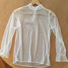 """ASOS Current Season """"NAvy"""" Brand White Sheer Blouse With High Lace Neck M RRP$60"""