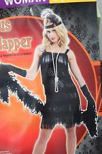FLAPPER FRINGED DRESS ADULT COSTUME Large Women Jazz Age 1920s Sequins NEW