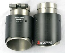2x Universal AKRAPOVIC style Exhaust Tips Carbon Fiber 63mm inlet 89mm outle