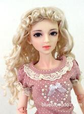 """1/3 bjd 8-9"""" doll head blonde curly long wig dollfie Luts Iplehouse W-JD276SM202"""