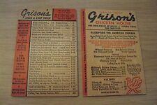 """1950's Souvenir WOOD MENU Lot~""""GRISON's Chicken/Steak HOUSE""""~San Francisco CA~"""