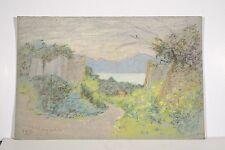 Dessin Original n.s Pastel Marguerite DUBOIS XX° Paysage Ile Sainte Marguerite