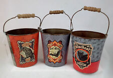 HALLOWEEN TIN BUCKETS set of 3 Black Cat Owl and Bat Design Tabletop Decor NEW