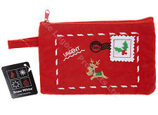 18cm x 11cm Embroidered Red Christmas Zip Purse Festive Accessories Xmas Bag