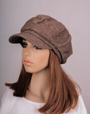 M269 Brown Fashion Classic Stripe Wool & Cotton Hat Cap Newsboy Cabbie Women's