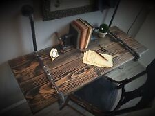 """36"""" Industrial Suspended Iron Pipe & Solid Wood WALL MOUNTED DESK Floating Shelf"""