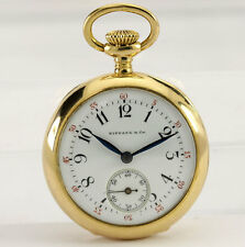 Vintage Tiffany & Co 18K yellow gold pocket watch estate mechanical 25.5MM 17.4G