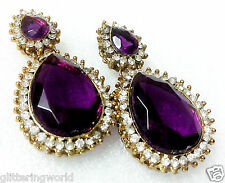 Glittering World Designer PURPLE Amethyst/Sapphire Stone Earrings