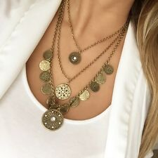 New York & Company NWT Antiqued Gold Layered Coin Pendant Necklace Boho Hippie