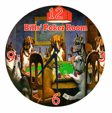 Personalized Clock Any Name POKER DOGS Club Home Decor Cool Gift Cards Chips Fun