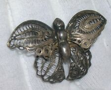 Antique Sterling Silver Filligre Butterfly Brooch ~ Scarf Pin ~ signed Mexico