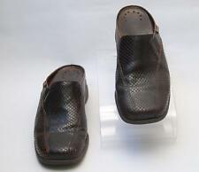 MEPHISTO Womens Open Back Closed-Toe Dark Brown Leather Clogs Size 9 M Slip-On