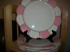 CYNTHIA ROWLEY PINK WHITE DINNER PLATES SET 4