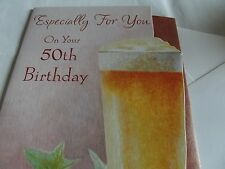 Lovely 50th Birthday Greetings Card. Free P&P.