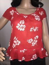 Hollister Shirt Red And White Hawaiian Floral Print Semi-Sheer Blouse Top - XS