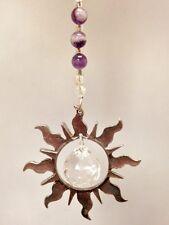 Rear View Mirror Car Charm Ornament,Amethyst Crystal Gemstone Sun Catcher
