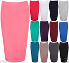 Ladies Stretch Wiggle Pencil Tube Bodycon Skirt Plain Office Midi Skirts 8-14