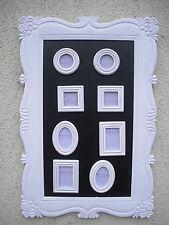 Bilderrahmen, Holz weiß 60x40cm mit 8 Magnet-Bilder-Rahmen