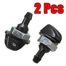 2 Pcs Black Universal Car Vehicle Front Windshield Washer Sprayer Nozzle Plastic