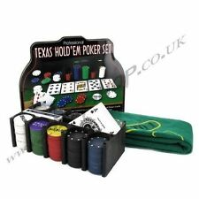 Texas Holdem Professional Poker Set Casino Cards Chips Game Metal Box Case Tin