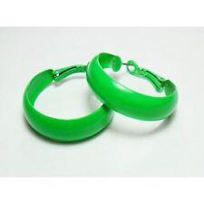 Bijou fantaisie : boucles d'oreille créoles vert fluo - diamètre 3 cm x 0,8 cm